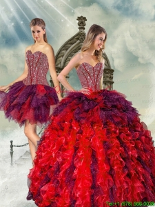 Detachable and Hot Sale Beading and Ruffles Multi Color Quince Dresses for 2015