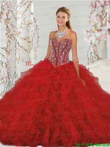Most Popular and Detachable Beading and Ruffles Red Quinceanera Dress Skirts