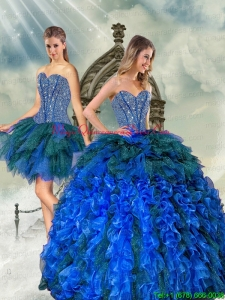 2015 Detachable and Puffy Beading and Ruffles Quince Dresses in Royal Blue and Teal