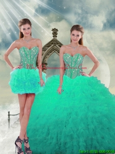 2015 Detachable and Puffy Beading and Ruffles Sweet 16 Dresses in Apple Green