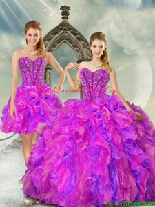 2015 Detachable and Puffy Fuchsia and Lavender Quince Dresses with Beading and Ruffles