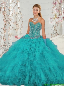 2015 Detachable and Romantic Beading and Ruffles Sweet 15 Dresses in Turquoise