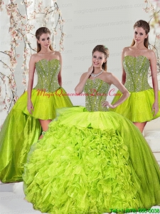2015 Detachable and Romantic Beading and Ruffles Yellow Green Dresses for Quince