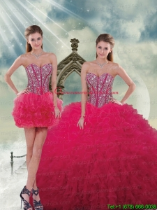 Detachable and Hot Sale Beading and Ruffles Red Sweet 16 Dresses