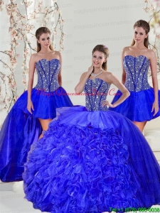 Detachable and Puffy Beading and Ruffles Sweet 16 Dresses in Royal Blue for 2015