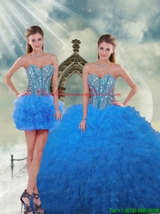 Detachable and Romantic Aqua Blue Sweet 16 Dresses with Beading and Ruffles