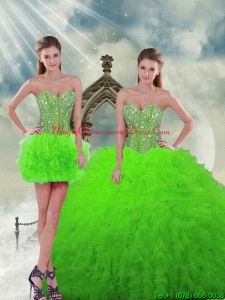 Detachable and Romantic Beading and Ruffles Spring Green Dresses For Quinceanera