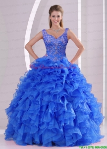 Exquisite and Puffy Beading and Ruffles Royal Blue Sweet 16 Dresses