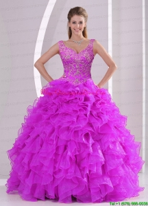 Fashionable and Puffy Fuchsia Quince Dresses with Beading and Ruffles