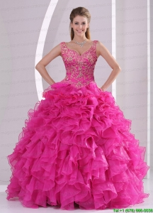 Hot Sale and New Style Hot Pink Quince Dresses with Beading and Ruffles for 2015