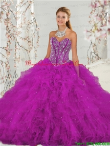 Puffy Beading and Ruffles Fuchsia Sweet 16 Dresses