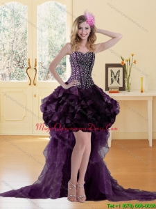 2015 Brand New High Low Burgundy Dama Dresses with Ruffles and Sequins