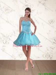 2015 Cute Baby Blue Sweetheart Dama Dresses with Beading
