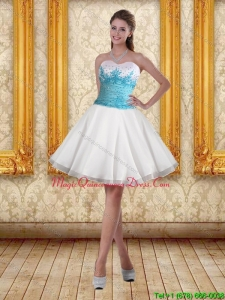 2015 White Sweetheart Dama Dresses with Embroidery