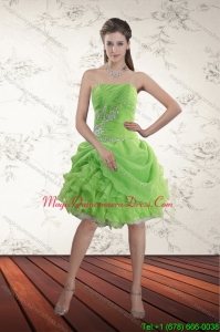 Modest 2015 Spring Green Strapless Dama Dresses with Ruffles and Beading