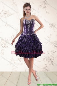 Pretty Sweetheart Ruffles and Embroidery Dama Dresses for 2015