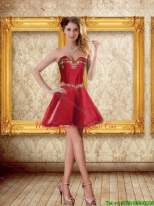 2015 Cheap Sweetheart Wine Red Short Dama Dresses with Appliques