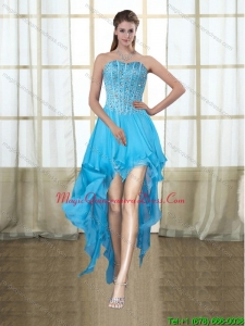 2015 Discount Sweetheart High Low Baby Blue Dama Dresses with Sequins