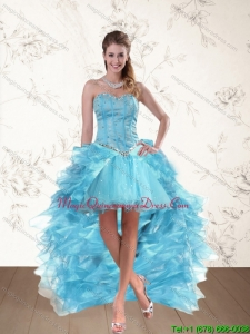 Affordable Baby Blue Sweetheart High Low Dama Dresses with Ruffles and Beading
