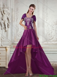 Affordable Dark Purple High Low Strapless Embroidery Dama Dresses for 2015 Spring