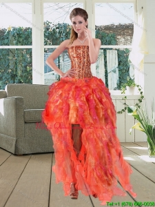 Affordable High Low Multi Color Strapless Dama Dresses with Beading and Ruffles