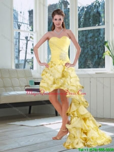 Affordable Light Yellow Sweetheart High Low Dama Dress with Ruffled Layers