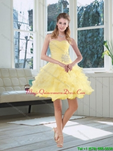 Discount 2015 Light Yellow Beading Dama Dresses with Sweetheart