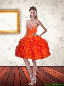 Discount Sweetheart Orange Dama Dresses with Ruffles and Appliques