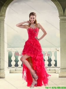 New Arrival Coral Red High Low Strapless Dama Dresses with Ruffles and Beading