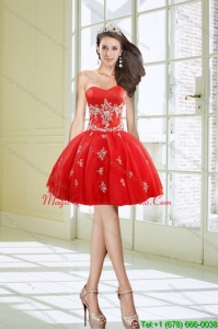 Pretty Hot Sale Sweetheart Appliques Red Dama Dresses for 2015