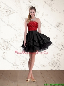 2015 Affordable Strapless Beading Dama Dresses in Red and Black