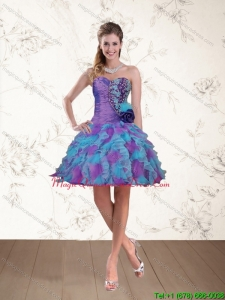 Affordable 2015 Spring Sweetheart Beading Multi Color Dama Dresses with Hand Made Flower