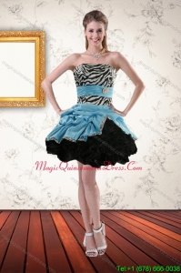Affordable Zebra Printed Strapless Dama Dresses with Ruffles and Pick Ups
