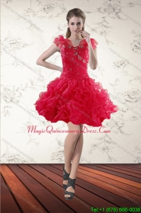 Discount Beading Sweetheart Red 2015 Dama Dresses with Ruffles