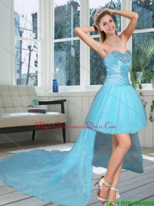 Discount High Low Sweetheart Beading Dama Dresses in Baby Blue