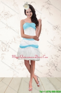Discount White and Baby Blue Strapless Dama Dresses for 2015