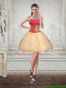 New Arrival Champagne Strapless Multi Color Short Dama Dresses with Embroidery
