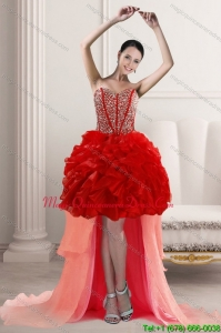 2015 Discount High Low Dama Dresses with Beading and Ruffles