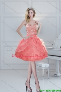 2015 Discount Sweetheart Watermelon Dama Dresses with Beading