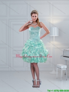 Discount 2015 Sweetheart Beading Dama Dresses in Apple Green