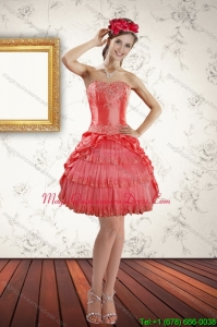 2015 New Arrival Strapless Coral Red Dama Dresses with Ruffled Layers