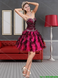 New Arrival 2015 Multi Color Dama Dress with Beading and Ruffles