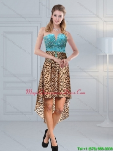 New Arrival Beading Leopard Printed 2015 Dama Dresses in Aqua Blue