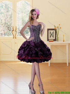 New Arrival Burgundy Sweetheart Dama Dresses with Ruffles