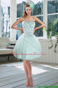 New Arrival Light Blue Sweetheart Short Dama Dresses with Beading