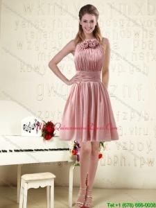2015 Exclusive Halter Ruching and Handmade Flowers Empire Chiffon Dama Dresses