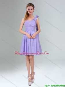 2015 Gorgeous Mini Length Lavender Dama Dresses with Ruching and Handmade Flower