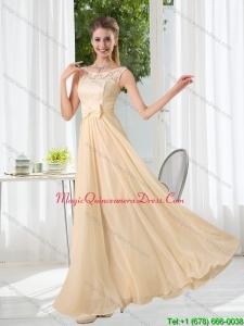 2015 Modest Bateau Empire Dama Dress with Lace and Belt