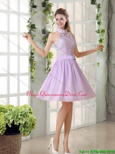 Luxurious High Neck Lilac A Line Lace Dama Dress for 2015