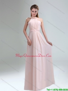 Affordable 2015 High Neck Chiffon Light Pink Dama Dresses